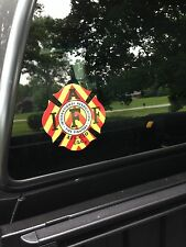 RED/YELLOW IAFF Firefighter Union Chevron Reflective 3M Sticker Decal 4""