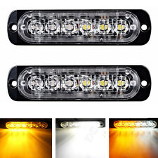 2X AMBER/WHITE STROBE RECOVERY 6 LED FLASHING Car truck BREAKDOWN light lamp