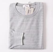 NWT $1075 BRIONI Green Stripe Fine-Gauge Cashmere-Silk Sweater XL (Eu 56)