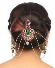 Traditional Wedding Matha Patti Pearl Stone Indian Maang Tikka Bridal Head Chain