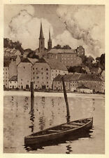 New Ross, Co. Wexford, Paul Henry collotype ready mounted print, 1940 SUPERB