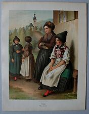 Trachten,Österreich,Tirol,Inntal - Lithographie von A.Kretschmer 1871