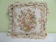 "Decorative Pillow Hand Made Needlepoint Wool front Rose Flowers Zipper 14"" X 13"""