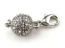 2 Magnetic Clasp Converters - Rhinestone Ball - Silver Color - Jewelry Necklace