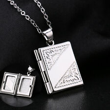 """Fashion Book Locket Photo Frame Pendant 20"""" Rolo Silver Necklace For Friend Gift"""