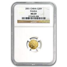 2001 China 1/20 oz Gold Panda MS-69 NGC - SKU #78836