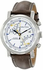 Nautica Men's NFB 01 Fly-Back Chronograph SS Case White Dial Brown Leather Watch