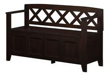 Simpli Home Amherst Entryway Storage Bench-Black- AXCAB-BNCH-B Bench NEW