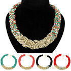 Women's Girl's Jewelry Knitting Bead Chain Golden Drop Short Choker Necklace