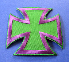 BRAND NEW PURPLE & GREEN IRON CROSS BIKER IRON ON PATCH