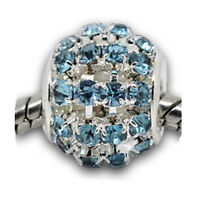 Silver Blue Stone Sparkly Charms Bead For Charm Bracelets