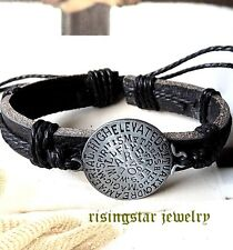 Men Magical Protection Shield Leather Surfer Character Hip Bracelet Wristband