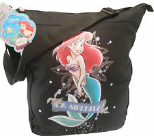 "Disney The Little Mermaid ""La Serenita"" Black Tote Crossbody School Book Bag"