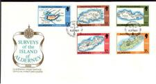 ALDERNEY 1989 SURVEY MAPS  SET OF 5 ON FIRST DAY COVER