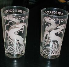 RARE ART DECO COCKTAIL BEVERAGE GLASSES PINK GAZELLE IMPALA DEER QUENCH COOLER