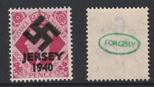 GB Jersey (276) 1940 Swastika Overprint forgey om genuine 8d stamp unmounted