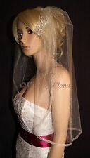"""Wedding Veil Elbow Single Tier 28"""" Length Organza Ribbon many colors made in USA"""