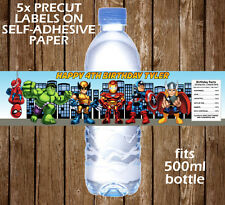 Personalised Super Hero Squad Water Bottle Labels Birthday Children Party Favour