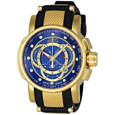 Invicta S1 Chronograph Blue Dial Black Leather Mens Watch 0897