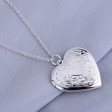 925 Silver Plated Heart Shaped Opening Locket Necklace & Pendant 19 inch Chain