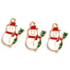 50Pcs Wholesale Christmas Gifts Enamel Gold Plated Charms Snowman Alloy Pendants