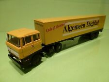 LION CAR 58 36 DAF 2800 TRUCK + TRAILER - ALGEMEEN DAGBLAD - YELLOW 1:50 -PROMO