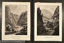 2 Orig Aquatintas ca 1820 Schweiz Suisse Splügen Al Dazio Treviso Italy Corrodi