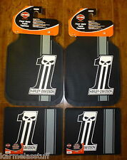 Harley-Davidson Dark Custom Front and Rear Car Truck Rubber Floor Mats NEW