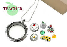 TEACHER  Memory Glass Locket Pendant Set SCHOOLBUS Floating Charms & Necklace