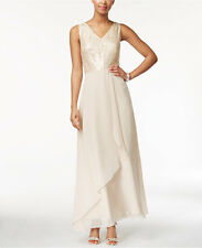 Tahari ASL Champagne Sequin-Lace Evening Dress Gown Size 10
