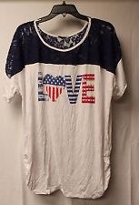 NEW WOMENS PLUS SIZE 3X RED WHITE & BLUE 4TH OF JULY LOVE TEE SHIRT W LACE TRIM