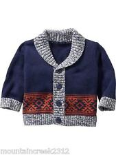 OLD NAVY Boys Sweater Size 0 3 month Shawl Collar Cardigan Cotton Blue New