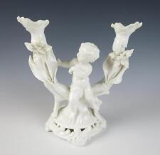 Antique MOORE DOUBLE CANDLESTICK w/ PUTTI English Porcelain Figurine Bros Cherub