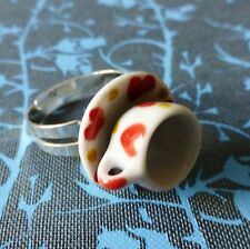 Vintage Alice In Wonderland Blanco Rojo corazón China Teacup Ajustable Anillo De Plata