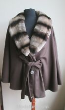 Women's New 100% Cashmere Cape Wrap with Rex Chinchilla Rabbit Fur Collar SALE!!