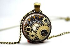 Glass Dome Cabochon Pendant Chain NECKLACE Gothic Steampunk Watch Clock Cogs #01