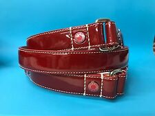 NIB VINTAGE COACH LARGE RED PATENT LEATHER DOG LEASH L RED SILVER NEW