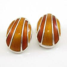 VTG David Andersen Sterling Silver Modernist Orange Enamel Clip On Earrings