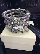 Luxurious Designer Statement Chunky Silver Beaded Stretch Bracelet Gift Packaged