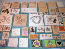 Lot 51 Wood Mounted Rubber Stamps Flowers Roses Halloween Frames Shapes Trees