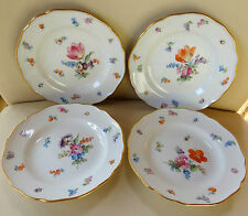 """Four Small 6"""" Meissen Porcelain Hand Painted Plates with Flowers and Insects"""