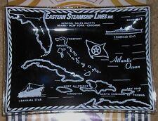 Eastern Steamship Lines Bahama Star Emerald Sea Cruise Ships Black Glass Dish