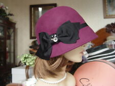 SCALA BERRY FELT WINTER CLOCHE HAT WITH BUTTONS & GROSGRAIN BOW