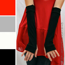 Black Cotton Fingerless Gloves Rollerderby Arm Warmers Elbow Length Sleeves 1010