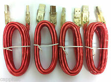 SET OF 4x 2M METRE USB 2.0 MALE A TO MALE A CABLES WITH RED LIGHT UP PLUGS
