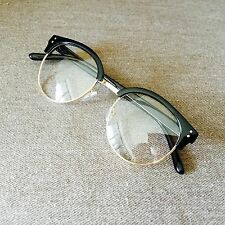 Black Oversized Clubmaster Gold Frame Retro Vintage Geek Fashion Glasses 60s 80s