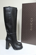 New sz 7 / 37 GUCCI Lifford Black Leather Logo Tall Knee High Boot Heel Shoes