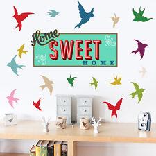Home Sweet Home con design uccelli-Muro ARTE Vinile Adesivi Decalcomanie Murales