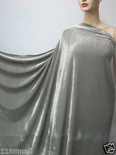 4Way Stretch Velvet Clothing Curtain Fabric Mid Grey by meters