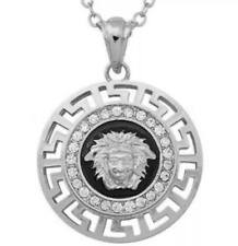 Micro Pave Crystal MEDUSA Head Medallion Greek Key Pendant Chain Link Necklace